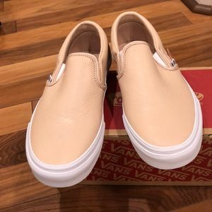 54330ff06d0905 Leather Frappe Classic Slip-On Vans 7.5